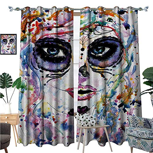 BlountDecor Sugar Skull Room Darkening Wide Curtains Halloween Girl with Sugar Skull Makeup Watercolor Painting Style Creepy Look Customized Curtains W108 x L96 Multicolor