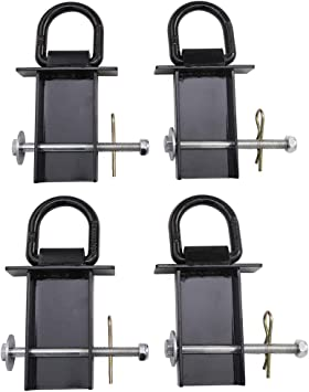 tiewards 8Pcs Heavy Duty Removable D-Ring Stake Pocket Tie Down for Utility Trailers and Flatbeds Equipped with Stake Pockets