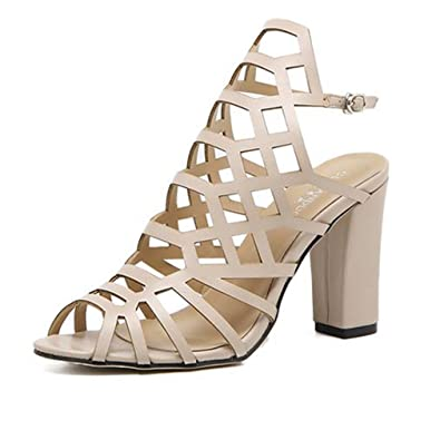 8aadca58d GIY Women s Sexy Caged Cutout Ankle Strap Sandals Peep Toe Buckle Anti-Slip  Gladiator Chunky