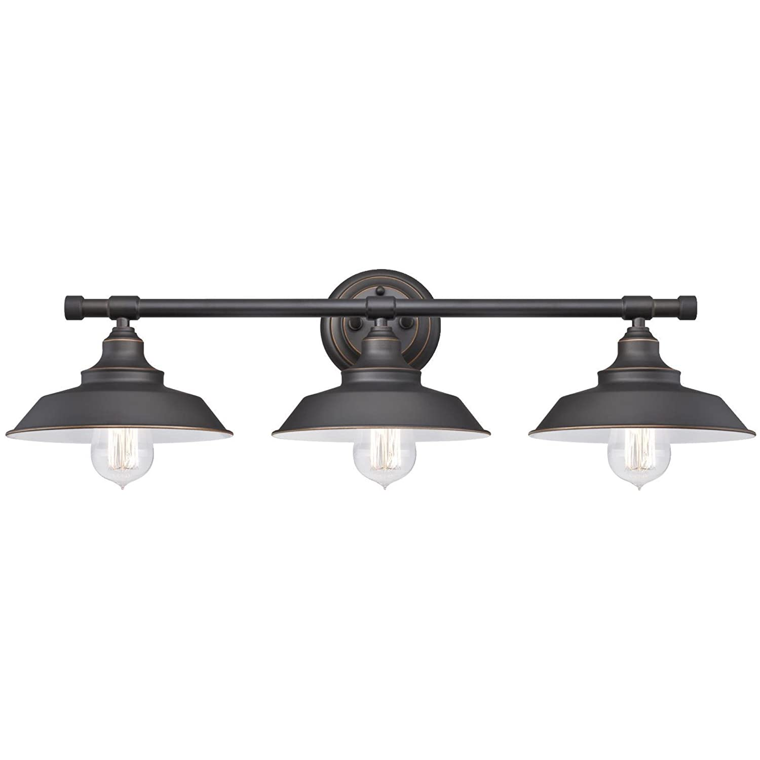 Amazon westinghouse 6343400 iron hill three light indoor wall amazon westinghouse 6343400 iron hill three light indoor wall fixture oil rubbed bronze finish with highlights and metal shades home improvement arubaitofo Gallery