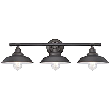 Westinghouse Lighting 6343400 Iron Hill Three-Light Indoor Wall Fixture, Oil Rubbed Bronze Finish with Highlights and Metal Shades, 3 White