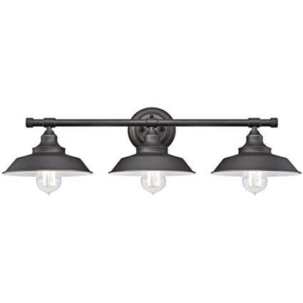 Westinghouse 6343400 iron hill three light indoor wall fixture oil rubbed bronze finish with