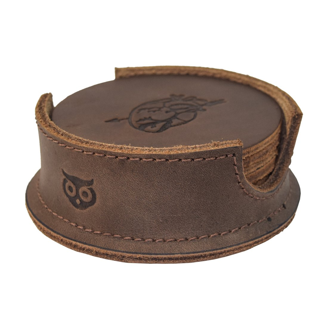 Durable Thick Leather Moon, Star and Heart Coasters (6-Pack) Handmade by Hide & Drink :: Bourbon Brown