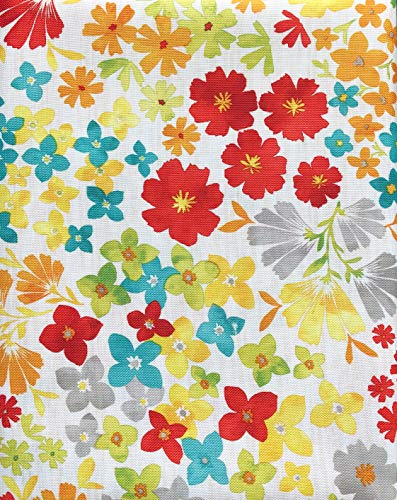 Fiesta Bright Floral Tablecloth Blue Red Yellow Orange Spring Green Flowers on White - Isadora Floral/Multi - 60 Inches by 120 Inches]()