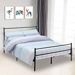 Mecor Queen Size Metal Bed Frame with Headboard Footboard - Strong Steel Slats Support - Mattress Foundation for Adults Kids Teens - Easy Assembly (No Box Spring Needed) - Black, Queen