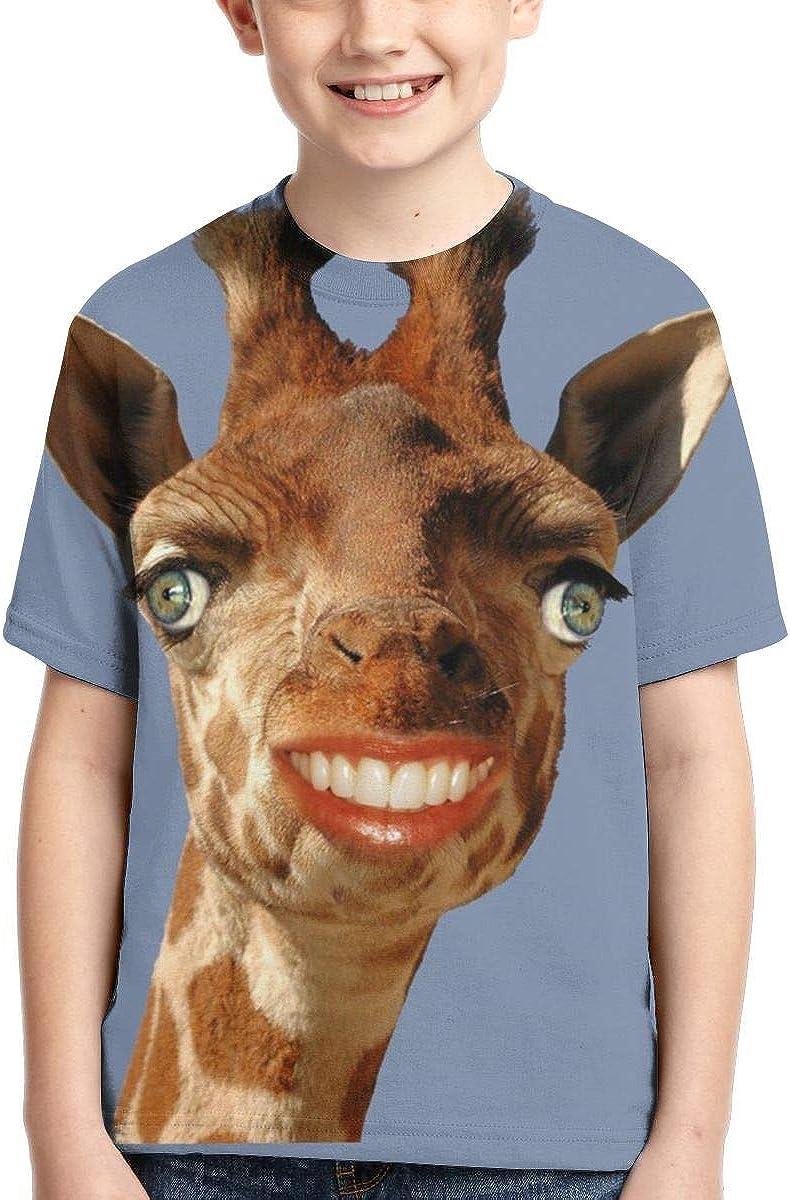 HHTZTCL Smiling Giraffe Kids Print Graphic Tee Short Sleeve T-Shirt