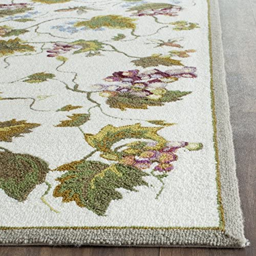 Safavieh Easy to Care Collection EZC731B Hand-Hooked White and Multi Area Rug 9 x 12