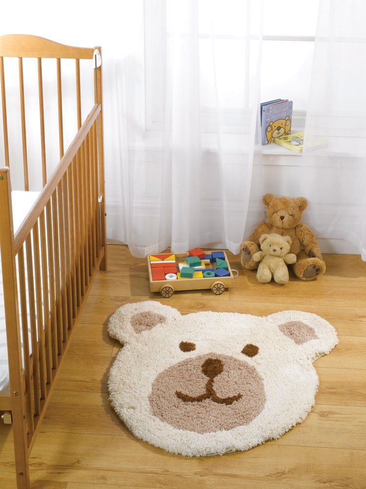 Lord of Rugs Kiddy Play Teddy Bear Kids Children Nursery Soft Rug in Natural 75 x 80 cm (2'3 x 2'7) Carpet