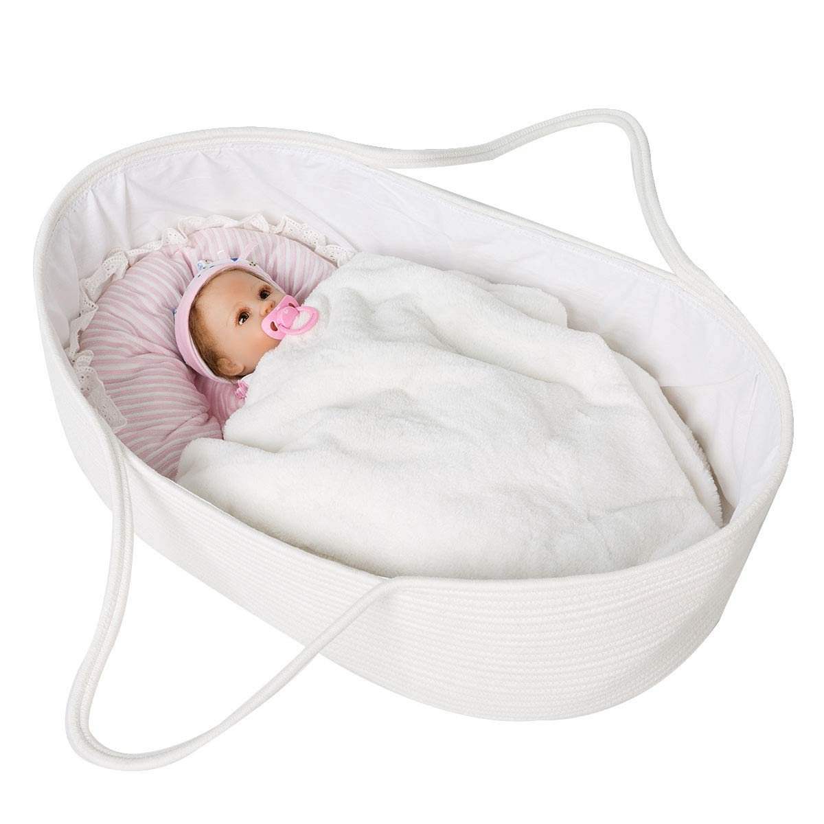 Goodpick Baby Moses Basket Soft Cotton Rope Basket for Newborn Baby - Nursery Cradle Bedding Basket - or Toys Basket Baby Laundry Blanket Basket with Cotton Lining and Handles, 25.6L x 14.6W x 7.9H