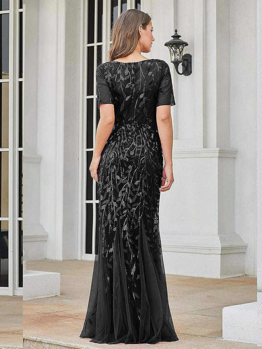 Ever-Pretty Robe de Soir/ée Sir/ène Femme Longue Manche Courte Paillettes Tulle EZ07707