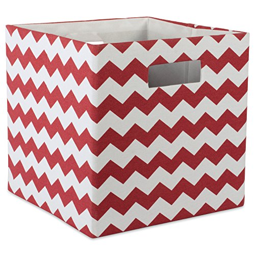 DII Hard Sided Collapsible Fabric Storage Container for Nursery, Offices, Home Organization, (13x13x13) - Chevron (Hard Cube)