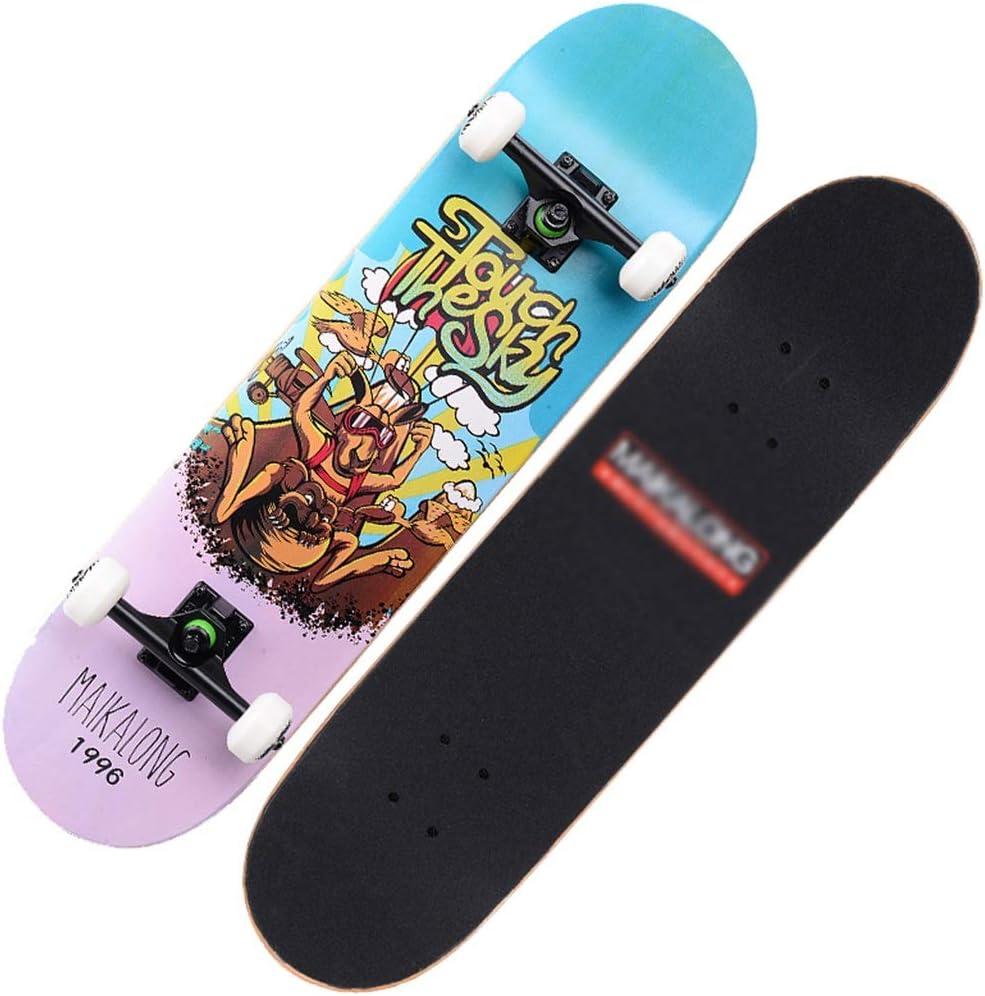 凹面デッキロングボード標準スケートボードプロスケートボード完全ロングボード7層メープルスケートボード用キッズ男の子女の子大人 A
