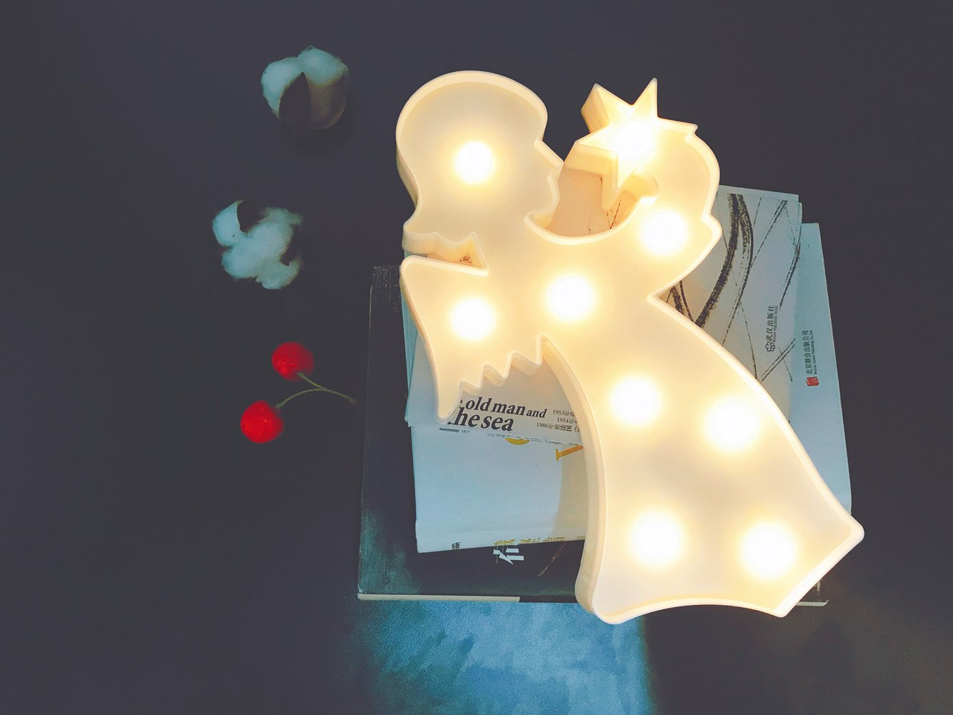 QiaoFei 3D Angel Marquee Sign Light,LED Angel Sign Shaped Decor Light,Wall Decor for Chistmas,Birthday party,Kids Room, Living Room, Wedding Party Decor(white)