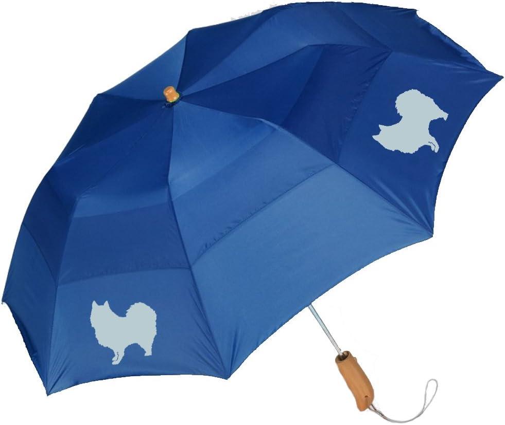 Peerless 43 Arc auto open folding umbrella with German Spitz Silhouette