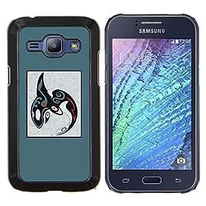 EJOOY---Cubierta de la caja de protección para la piel dura ** Samsung Galaxy J1 J100 ** --patrón tribal abstracto azul ballena orca