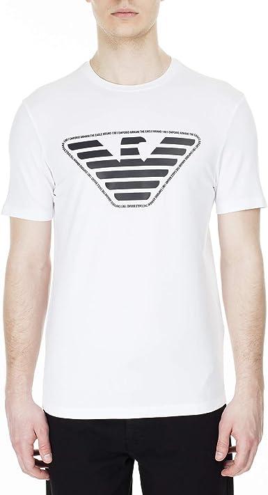Emporio Armani - Camiseta para hombre de manga corta, con logotipo de águila frontal 3H1T92: Amazon.es: Ropa y accesorios