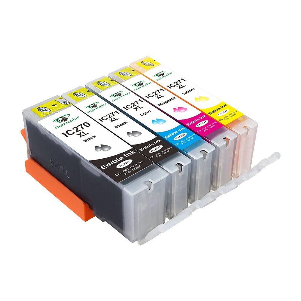 Supricolor 5 Pack Replacement Edible Ink PGI-270XL PGI 270 CLI-271XL CLI 271 for Canon MG6820 MG6821 MG682 MG5720 MG5722 by Supricolor (Image #2)