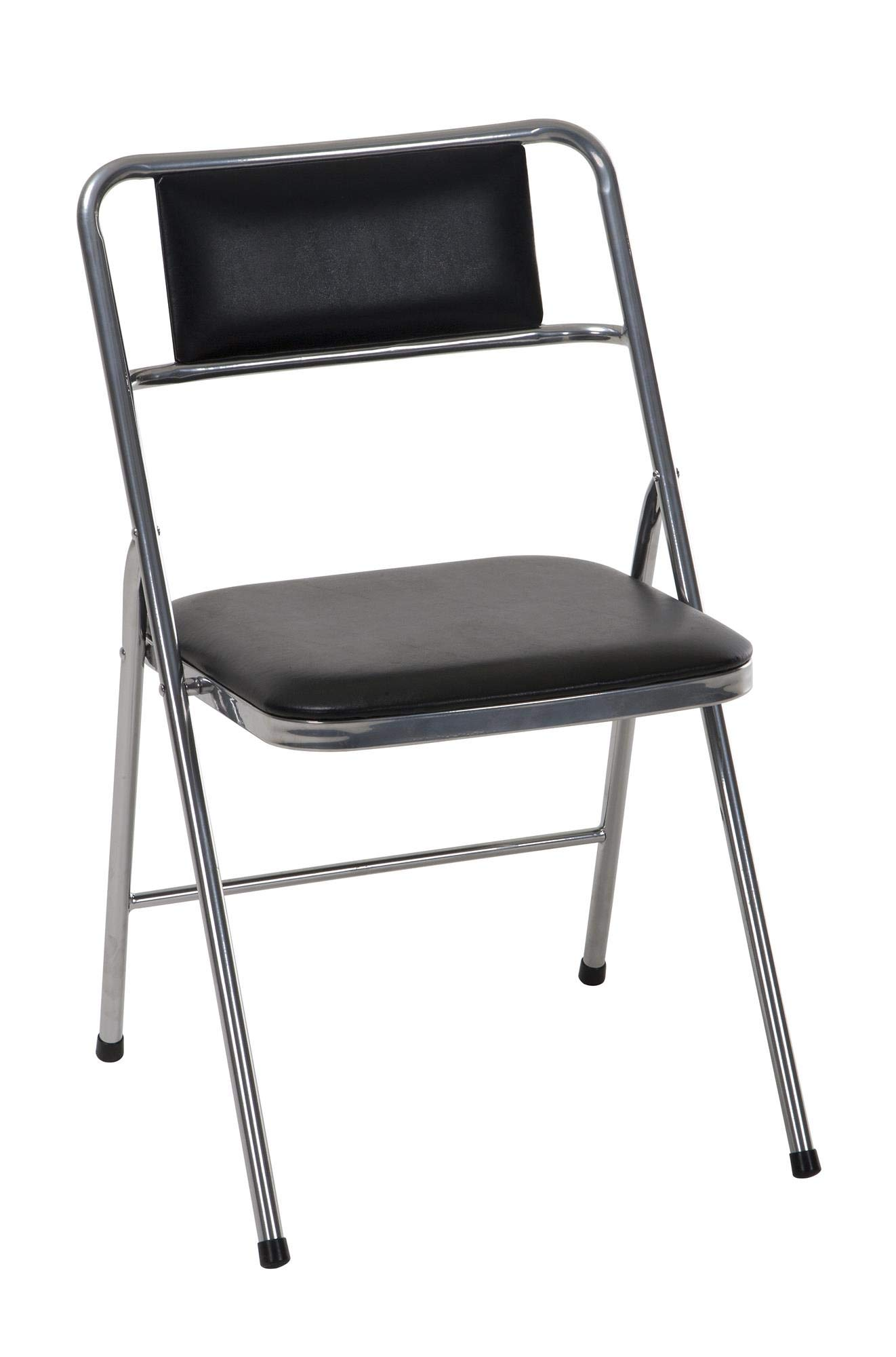 COSCO Stylaire Vinyl Padded Folding Chair, 4-Pack,  Silver by Cosco