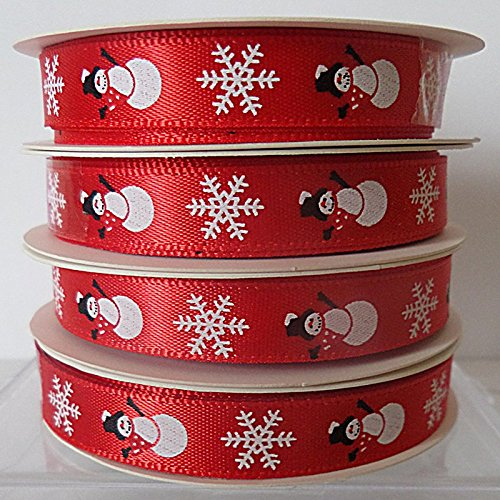 Christmas Ribbon RED WITH SNOWMEN & SNOWFLAKES #B ~ 5 yards (4.5 metres) of 9mm Wide Ribbon 5 Designs Available Ideal For Presents~Gifts~Cards~Scrap Booking~Decoration