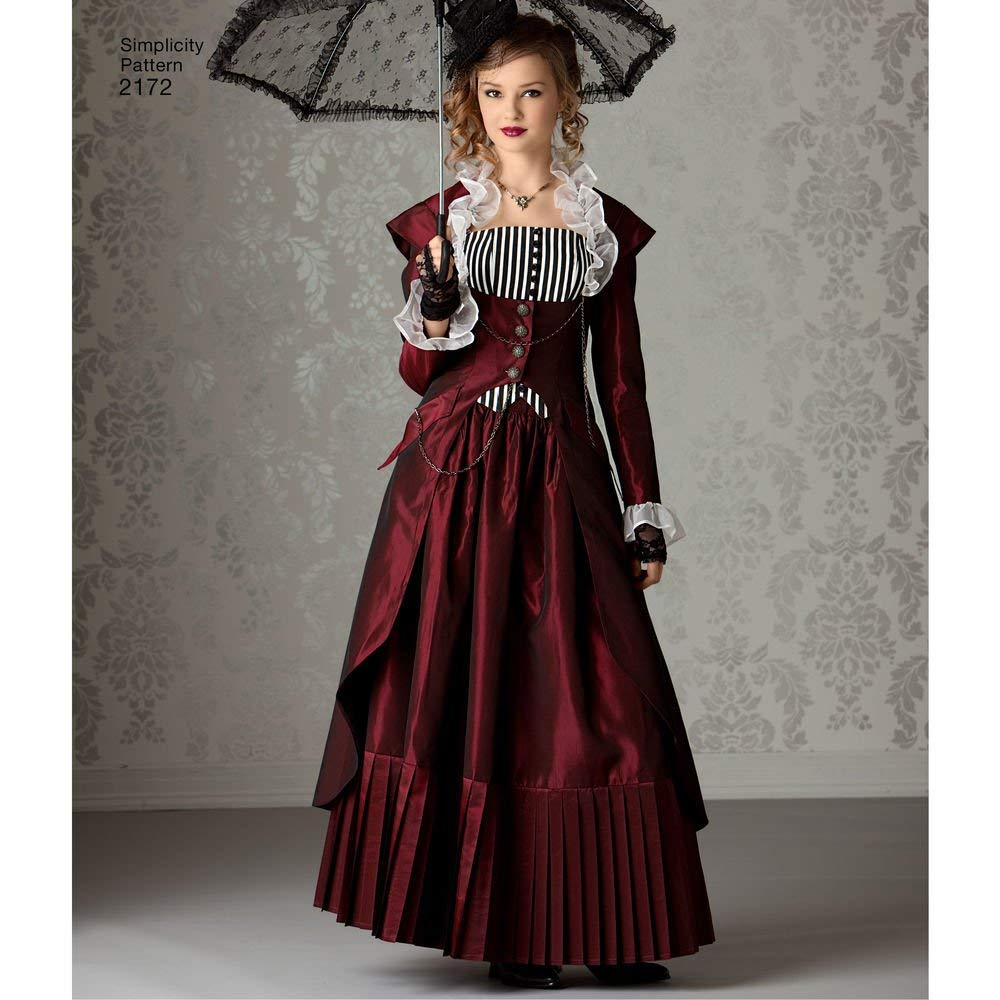 14-22 Simplicity Pattern 2172 Misses Steampunk Costume by Theresa Laquey Size R5