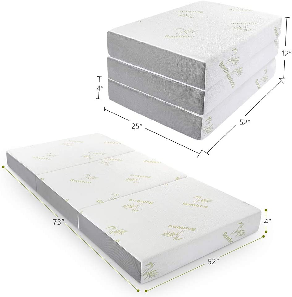 Folding Mattress, Inofia Memory Foam Tri-fold Mattress with Ultra Soft Removable Bamboo Cover Washable, Non-Slip Bottom Breathable Mesh Sides – Full 4-Inch