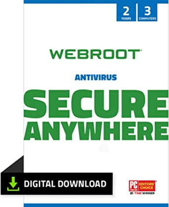Webroot SecureAnywhere Antivirus Software 2021 for 3 Devices + Identity Protection & Secure Web Browsing   2 Year [PC Download]