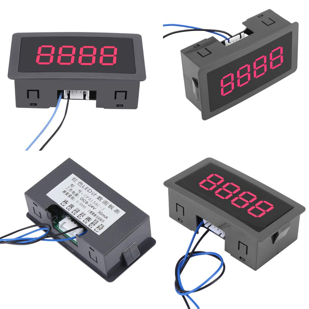 Red Digits DC 12V LED Digital Counter Meter 4 Digit 0-9999 Up//Down Plus//Minus with Cable