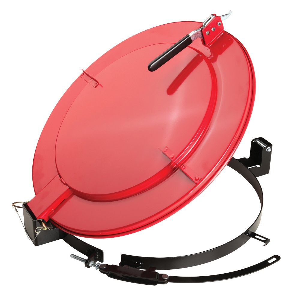 New Pig Outdoor Latching Drum Lid with Fast-Latch Ring, For 55 Gallon Steel Drums, Outdoor Use, 28'' L x 25'' W x 6'' H, Red, DRM1111-RD