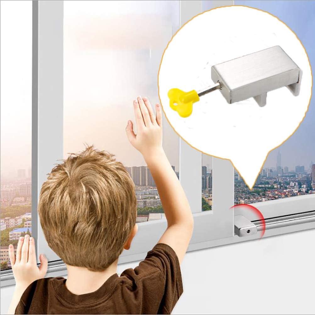 2 Pack Sliding Window Locks with Key, Adjustable Aluminum Alloy Children Safety Lock for Vertical Horizontal Sliding Windows, Anti-Theft Door Frame Guard Stopper, Child-Proof Bars for Home, Office