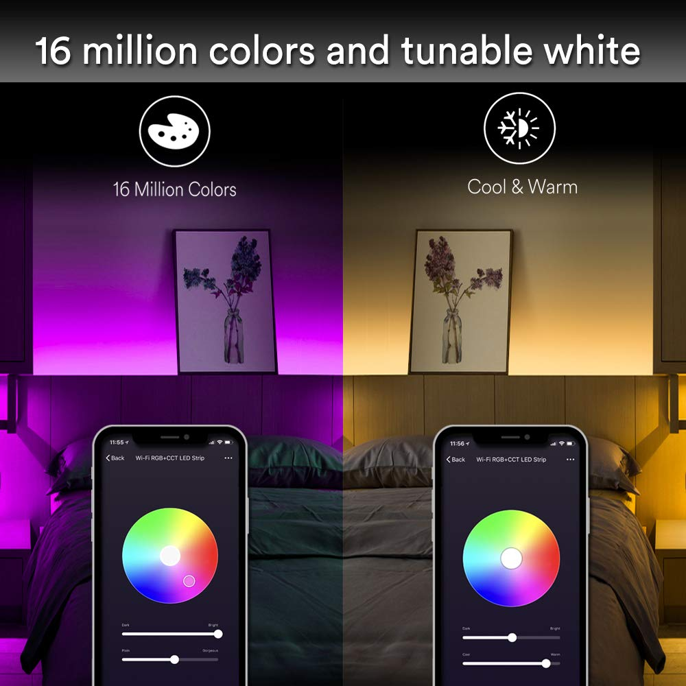 WiFi Smart LED Strip Light - iLintek Color Changing LED Strip Lighting Kit Tunable White Mood Light Dimmable Waterproof IP44 Wireless Control Compatible with Alexa and Google Assistant (3m)