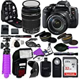 Canon T6i Rebel DSLR Camera with Canon 18-135mm IS STM Lens, Auxiliary Panoramic and Telephoto Lenses, 32GB Memory + Accessory Bundle