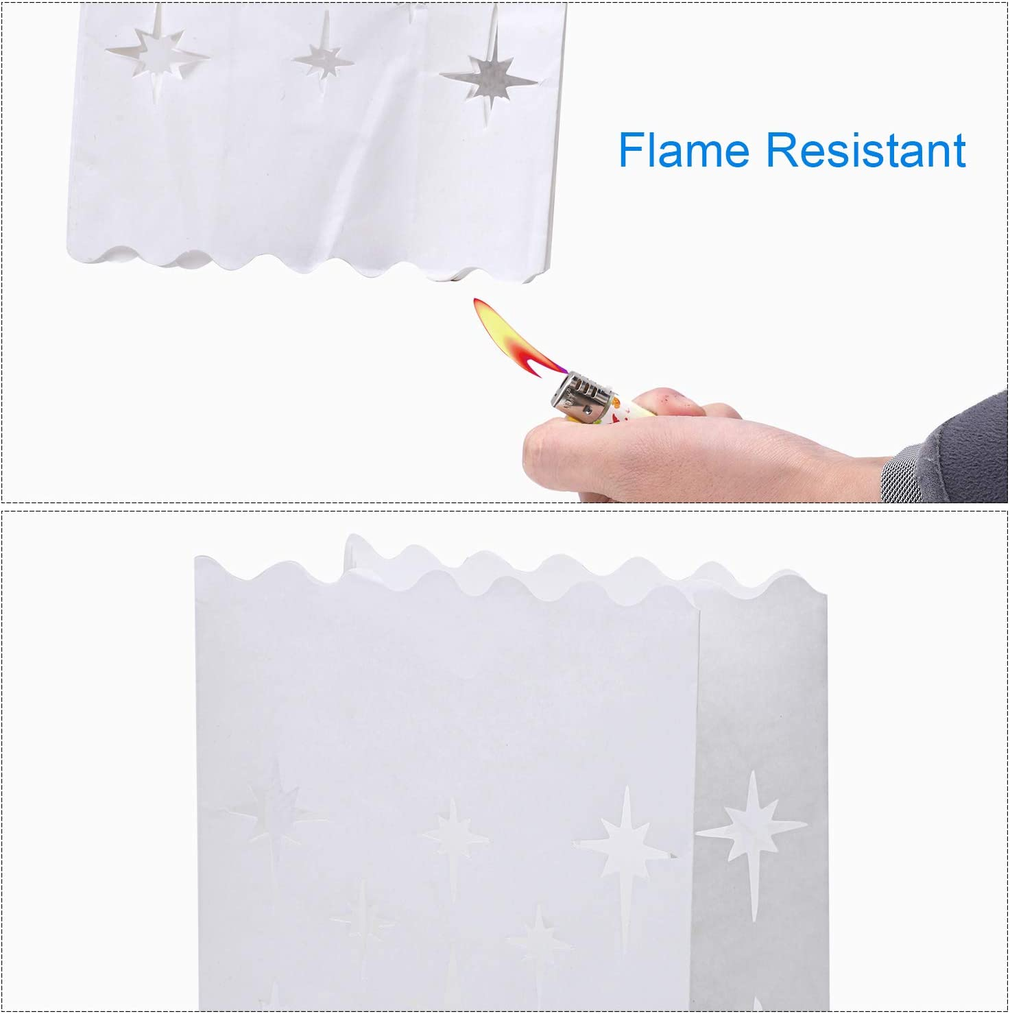 Snowman for Christmas Weddings Aneco 20 Pieces White Paper Luminary Bags Flame Resistant Lantern Candle Bags 4 Designs with Tree Stars Birthday Party Decoration
