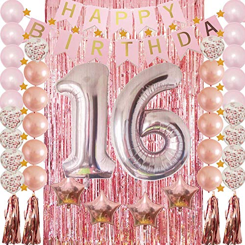 Sweet 16th Birthday Party Supplies Decoration Rose Gold-Confetti Latex Balloon,Foil Mylar Star,Tassel Garland,Tinsel Foil Fringe Curtains,Happy Birthday Banner as Photo Booth Props,Gift for Girl,Boy