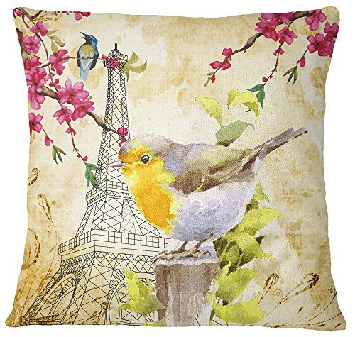 S4Sassy Decorative Paris Theme Print Square Multicolour Cushion Cover Throw Pillow Case - Choose Size Upholstery Square Weave
