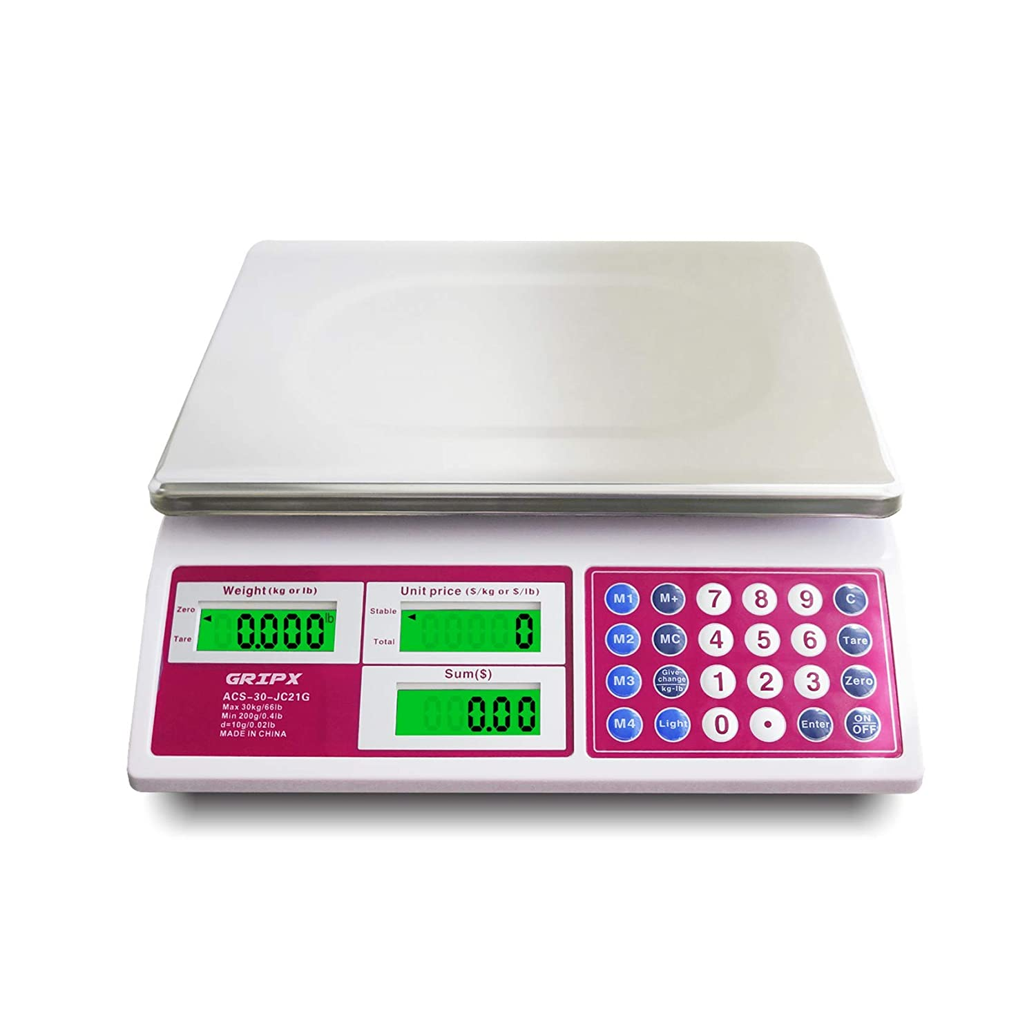 Digital Commercial Price Scale 66 lbs for Food Meat Fruit Produce with Green Backlight LCD Display Stainless Steel Platform Battery Included Not for Trade