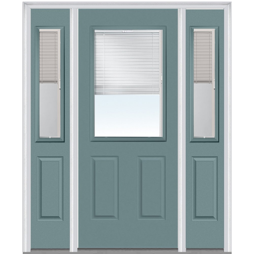 National Door Company Z010161R Steel Riverway, Right Hand In-swing, Prehung Door, 1/2 Lite 2-Panel, Clear Glass with RLB, 36'' x 80'' with 12'' Sidelites