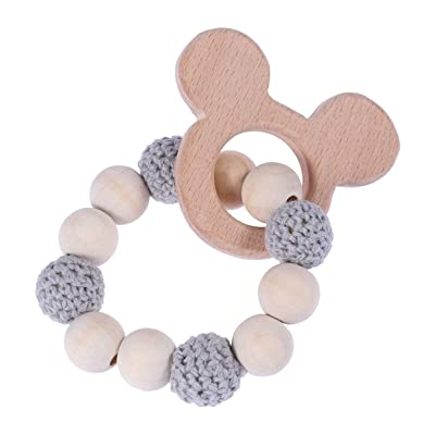 Milisten Baby Teether Bracelet Silicone Teether Wooden Teether Ring Nursing Safe Organic Bangle Teething Toys(Grey): Toys & Games