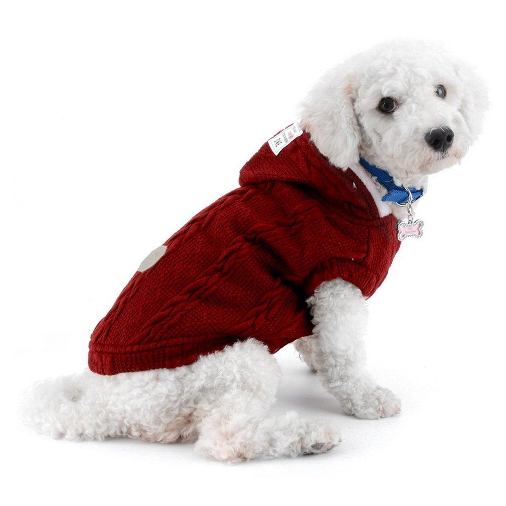 SMALLLEE/_LUCKY/_STORE Maglia Maglione per Cani Giacca per Freddo Giacca Chihuahua con Cappuccio Cane Gatto Abbigliamento Invernale per Cani di Piccola Taglia Abbigliamento Caldo Blu XL