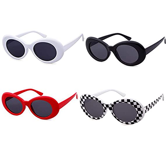 c966e302c7af9 ADEWU Oval Sunglasses Retro Kurt Cobain Clout Goggles for Women Men (4pcs -  White+Black+Grid+Red)  Amazon.co.uk  Clothing