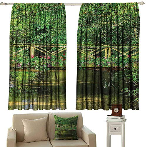 Tankcsard Decor Curtains by Apartment Decor Collection,Bridge Decorated with Cute Flowers Over Clear Stream in Summer Garden Picture,Green Pink Red 72