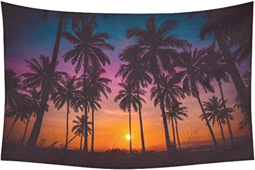 INTERESTPRINT Landscape Nature Scenery Wall Art Home Decor, Coconut Palm Trees on Beach at Sunset Tapestry Wall Hanging Art Sets 60 X 40 Inches