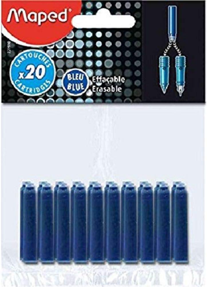 Blue Maped 221910 Erasable Ink Cartridges Pack of 20