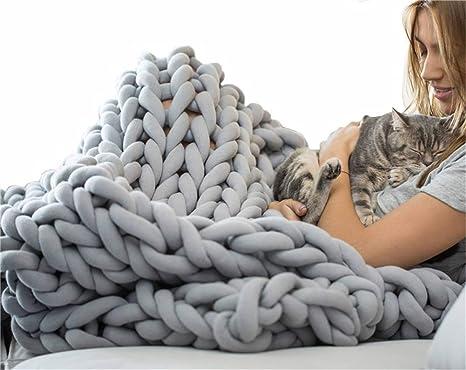 Amazon.com: Blanket Throw Chunky Blanket Coarse Wool Super ...