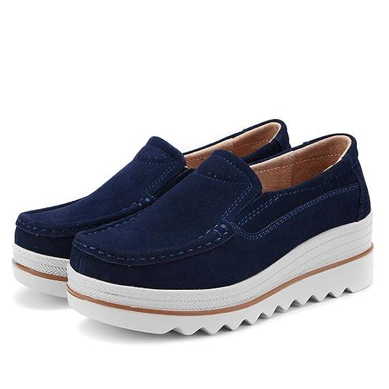 ZODOF Zapatos de muletón de Mujer Zapatos Deportivos de Cuero Zapatos de Lona Mocasines: Amazon.es: Ropa y accesorios