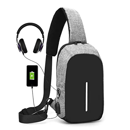 Amazon.com  Sling Bag with USB Charging Port   Headphone Hole 5d4cc7c5e034d