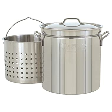 Bayou Classic 1124 24-Quart All Purpose Stainless Steel Stockpot with Steam and Boil Basket