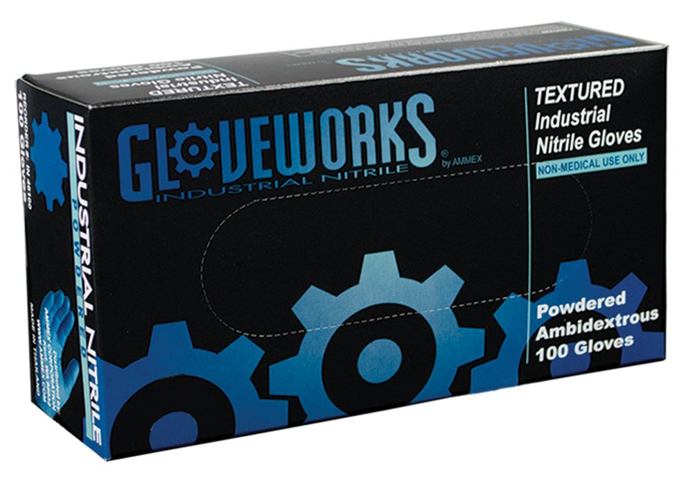 AMMEX - IN46100- Nitrile Gloves - Gloveworks - Disposable, Powdered, Industrial, 5 mil, Large, Blue (Case of 1000) by Ammex