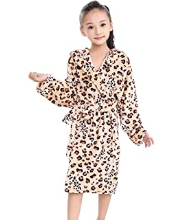Tortor 1Bacha Kid Girls  Leopard Print Hooded Plush Fleece Robe Long  Bathrobe 91d9812a5