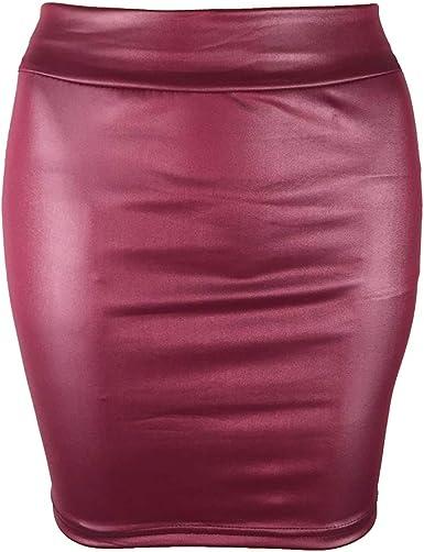 LHX - Falda Corta de Piel sintética para Mujer, Color Liso ...