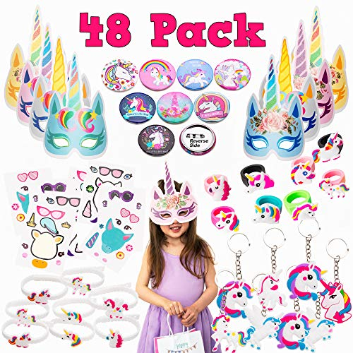 Alfavors Unicorn Party Favors Supplies MEGA Set (48 pcs) - Huge Variety of Unicorn Toys for Girls or Fillers for Party Favor Goodie Bags, Piñatas, Classroom Prizes ()